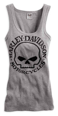 Harley-Davidson Women's Skull Scoop Neck Tank, Heather Grey 99147-14VW - Wisconsin Harley-Davidson
