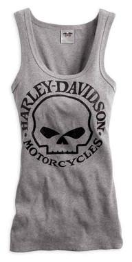 Harley-Davidson Women's Skull Scoop Neck Tank, Heather Grey 99147-14VW - Wisconsin Harley-Davidson
