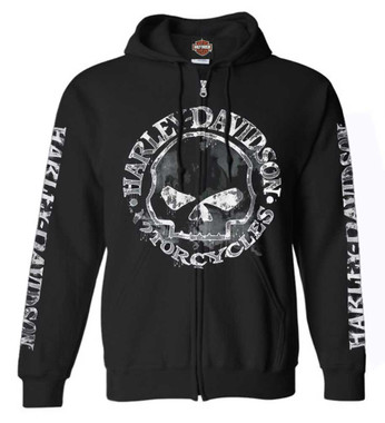 Harley-Davidson Men's Zippered Sweatshirt Jacket, Willie G Skull, Black 30296647 - Wisconsin Harley-Davidson