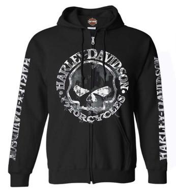 Harley-Davidson Men's Zippered Sweatshirt Jacket, Willie G Skull, Black 30296647 - Wisconsin Harley-Davidson