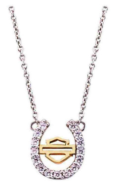 Harley-Davidson Women's Crystal Horseshoe Necklace, Gold Plated B&S, HDN0328-18 - Wisconsin Harley-Davidson