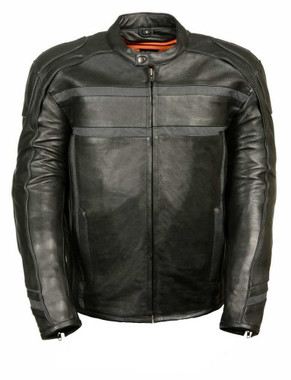 Milwaukee Leather Men's Reflective Band & Piping Scooter Jacket ML2083 - Wisconsin Harley-Davidson