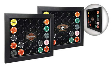 Harley-Davidson Poker Chip Collectors Frame, Holds 28 Chips, Made in USA 6925 - Wisconsin Harley-Davidson