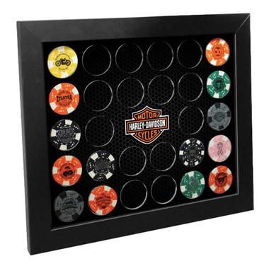 Harley-Davidson Poker Chip Collectors Frame, Holds 28 Chips, Made in USA 6925 - Wisconsin Harley-Davidson