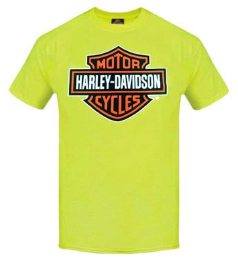 Harley-Davidson Men's Elongated Bar & Shield Safety Green T-Shirt. 30291737 - Wisconsin Harley-Davidson