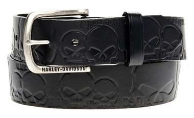 Harley-Davidson Men's Muscle Up Skull Belt Black Leather HDMBT10614 - Wisconsin Harley-Davidson