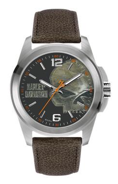 Harley-Davidson Men's Bulova Watch, Vintage Willie G. Skull, Brown Strap 76A146 - Wisconsin Harley-Davidson
