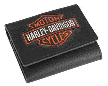 Harley-Davidson Men's Embroidered Bar & Shield Tri-Fold Wallet, XML4363-ORGBLK - Wisconsin Harley-Davidson