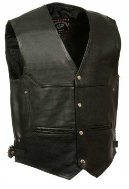 Milwaukee Leather Men's Deep Pocket Vest w/ Side Buckle ML1927 - Wisconsin Harley-Davidson