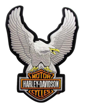 Harley-Davidson Eagle Winged Large Silver Patch, 7-3/4'' x 10-1/4'' EMB328064 - Wisconsin Harley-Davidson