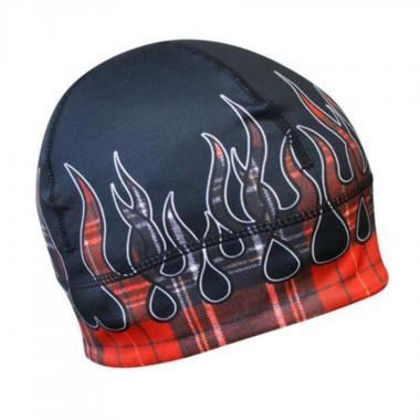 Missing Link Red Flames Flannel GasCap Beanie Hat Skull Cap GCRF - Wisconsin Harley-Davidson