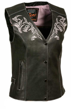 Milwaukee Leather Women's Vest w/ Reflective Tribal Design & Piping ML1296 - Wisconsin Harley-Davidson