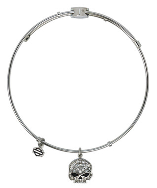 Harley-Davidson Womens Bangle, White Bling Willie Skull Charm Bracelet HSB0043-7 - Wisconsin Harley-Davidson