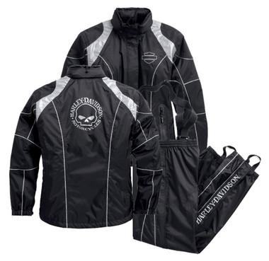 Harley-Davidson Women's Rain Suit, Willie G. Skull Rain Gear, Black 98363-15VW - Wisconsin Harley-Davidson