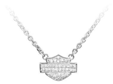 Harley-Davidson Women's Necklace, Bling Bar & Shield Logo Charm, Silver HDN0148 - Wisconsin Harley-Davidson