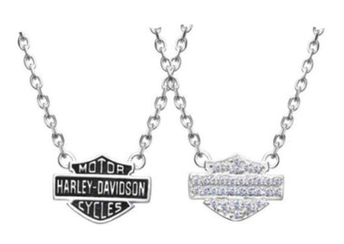 Harley-Davidson Women's Necklace, Bling Bar & Shield Logo Charm, Silver HDN0148 - Wisconsin Harley-Davidson