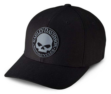 Harley-Davidson Men's Rubber Skull Patch Stretch Cap Hat, Black/Grey. 99409-16VM - Wisconsin Harley-Davidson