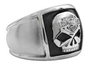 Harley-Davidson Men's Bar & Shield Skull Cigar Band Ring Stainless Steel HSR0020 - Wisconsin Harley-Davidson