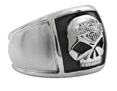 Harley-Davidson Men's Bar & Shield Skull Cigar Band Ring Stainless Steel HSR0020 - Wisconsin Harley-Davidson