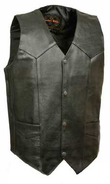 Leather King Men's Classic Snap Front Biker Vest SH1310 - Wisconsin Harley-Davidson