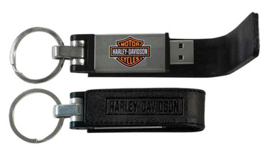 Harley-Davidson Bar & Shield Metal USB Key Chain w/ Leather Case, Black KY51664 - Wisconsin Harley-Davidson