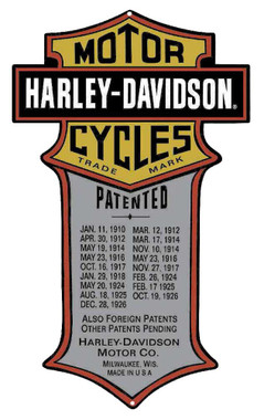 Harley-Davidson Patented Dates Tin Metal Sign 11 x 18 Inches 2010181 - Wisconsin Harley-Davidson
