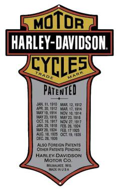 Harley-Davidson Patented Dates Tin Metal Sign 11 x 18 Inches 2010181 - Wisconsin Harley-Davidson