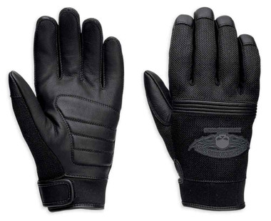 Harley-Davidson Men's Winged Skull Full-Finger Leather Gloves 98278-14VM - Wisconsin Harley-Davidson