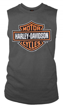 Harley-Davidson Men's Bar & Shield Muscle Shirt Tank Top, Charcoal Tee 30296624 - Wisconsin Harley-Davidson