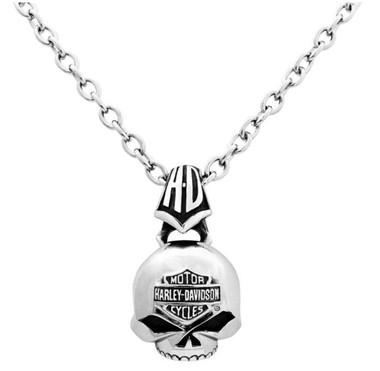 Harley-Davidson Men's Steel Skull Bar & Shield Necklace HSN0003/22 - Wisconsin Harley-Davidson