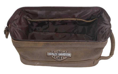 Harley-Davidson Bar & Shield Distressed Leather Toiletry Kit, Brown 99609-BRN - Wisconsin Harley-Davidson