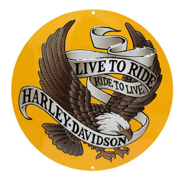 Harley-Davidson Round Tin Sign, Live To Ride, Ride To Live Eagle Gold 2010231 - Wisconsin Harley-Davidson