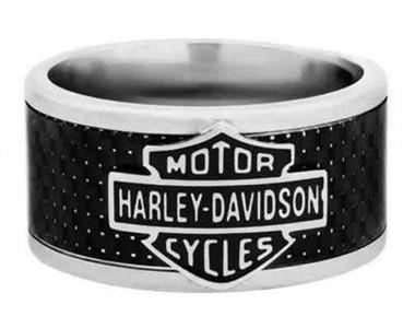 Harley-Davidson Mens Bar & Shield Steel & Carbon Fiber Band Ring HSR0010 - Wisconsin Harley-Davidson