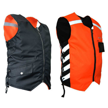 Missing Link Mens Military Duty Reversible Safety Vest - Orange MDVO - Wisconsin Harley-Davidson