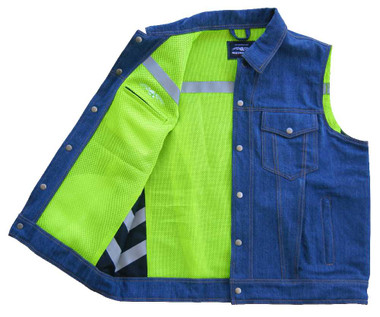 Missing Link Mens Lawless Reversible Denim Safety Vest - Green LRDV - Wisconsin Harley-Davidson