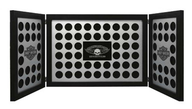 Harley-Davidson Tri-Fold Poker Chip Collectors Frame, Holds 88 Chips, Black 6973 - Wisconsin Harley-Davidson