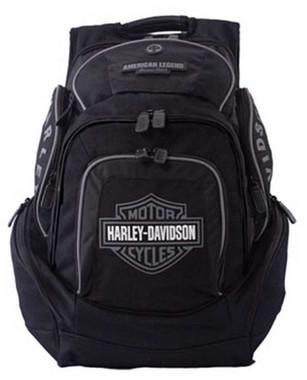 Harley-Davidson Mens Deluxe Backpack BP1900S-GRYBLK - Wisconsin Harley-Davidson