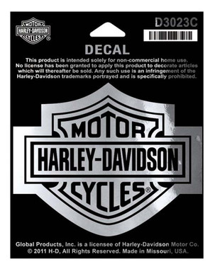 Harley-Davidson Bar & Shield Chrome Medium Decal, 3-15/16'' W x 3-1/8'' H D3023C - Wisconsin Harley-Davidson