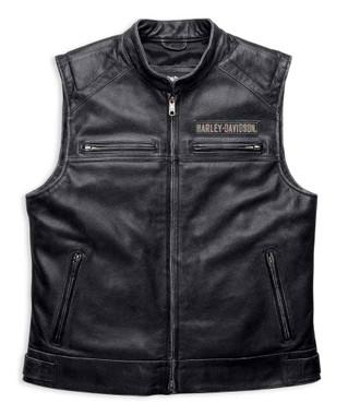 Harley-Davidson Men's Embroidered Passing Link Leather Vest, Charcoal 98109-16VM - Wisconsin Harley-Davidson