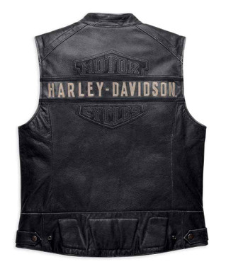 Harley-Davidson Men's Embroidered Passing Link Leather Vest, Charcoal 98109-16VM - Wisconsin Harley-Davidson
