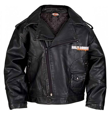 Harley-Davidson Big Boys' Upwing Eagle Biker Pleather Jacket Black 0396074 - Wisconsin Harley-Davidson