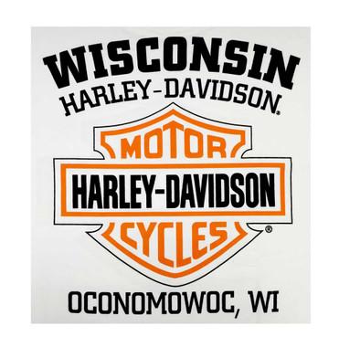 Harley-Davidson Men's Orange Bar & Shield White T-Shirt 30290590 - Wisconsin Harley-Davidson