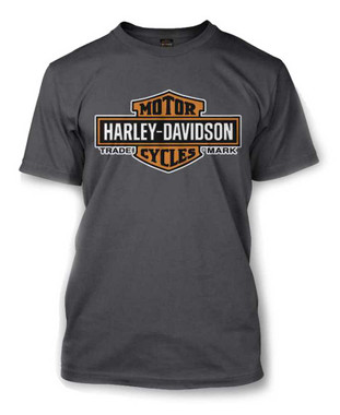 Harley-Davidson Men's Elongated Orange Bar & Shield Charcoal T-Shirt 30291961 - Wisconsin Harley-Davidson