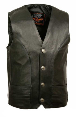 Milwaukee Leather Men's Classic Vest w/ Buffalo Nickel Snaps ML1368 - Wisconsin Harley-Davidson