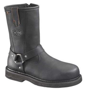 Harley-Davidson Men's Bill Steel Toe 9.5-Inch Black Boots. Inside Zip. D95328 - Wisconsin Harley-Davidson