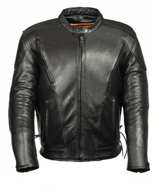 Leather King Men's Side Lace Vented Scooter Jacket SH1010 - Wisconsin Harley-Davidson