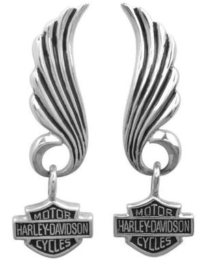 Harley-Davidson Women's Little Wing Bar & Shield Post Dangle Earrings HDE0270 - Wisconsin Harley-Davidson