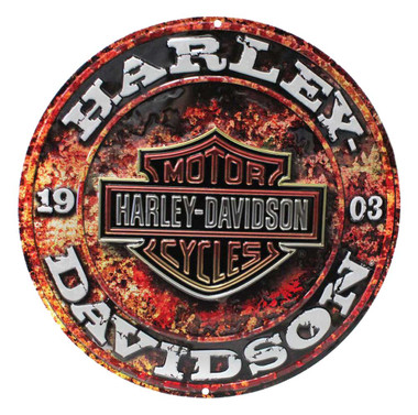 Harley-Davidson Embossed Stone Rust Bar & Shield Tin Sign, Round 14 inch 2011171 - Wisconsin Harley-Davidson