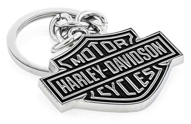 Harley-Davidson Black Bar & Shield Key Chain HDKD14 - Wisconsin Harley-Davidson