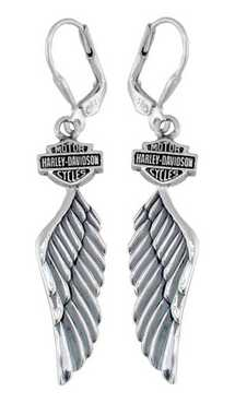 Harley-Davidson Women's Bar & Shield Winged Dangle Earrings HDE0126 - Wisconsin Harley-Davidson